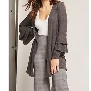 Women's Gray cartigan with tiered sleeves